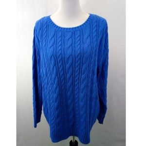 Lands End 1X Sweater Drifter Cable Knit Blue Crew